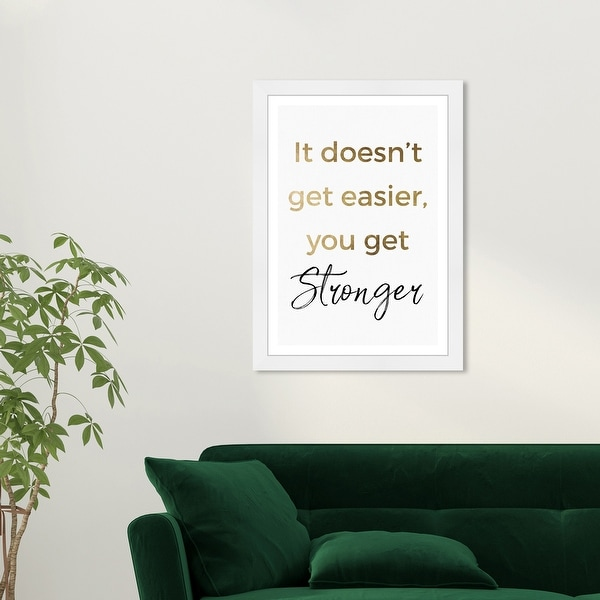 Wynwood Studio 'Stronger' Typography and Quotes Gold Wall Art Framed Print. Opens flyout.