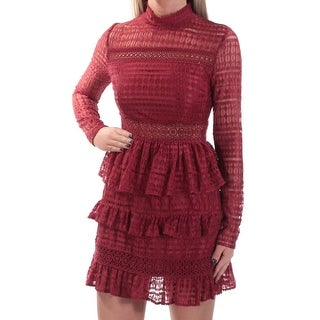 Womens Maroon Long Sleeve Mini Sheath Casual Dress Size: XS