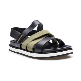 Moncler Desiree Women's Leather Navy Olive Strap Sling Back Sandal Shoes