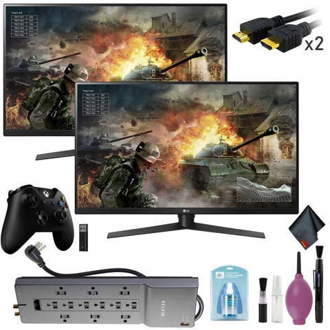 "LG 31.5"" 16:9 144 Hz Monitor x2 - HDMI Cable x2 - Controller + Adapter"