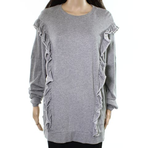 Abound NEW Gray Womens Size Small S Ruffle-Trim Knit Pullover Sweater 095