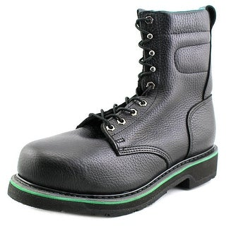 "HyTest by Wolverine Footrest 8"" Plain Toe EH Men 3E Leather Black Work Boot"