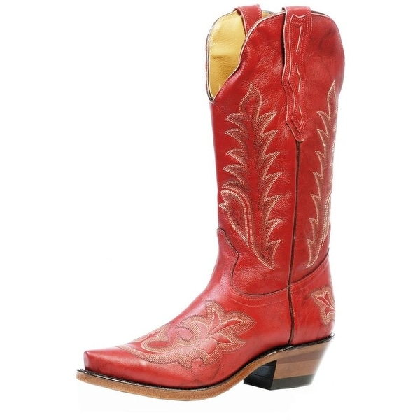 Boulet Western Boots Womens Cowboy Leather Snip Deerlite Red
