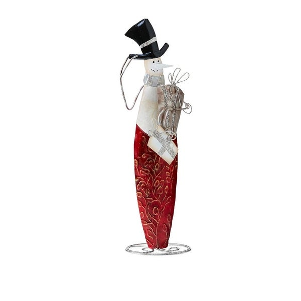 "14.5"" Pop of Red Capiz Shell Snowman with Top Hat Christmas Table Top Figurine Decoration"