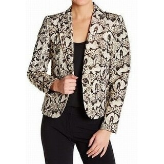 Nine West Gold Black Womens Size 4 Animal-Print One-Button Blazer