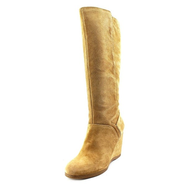 Nine West Vienneo Women Round Toe Suede Tan Knee High Boot