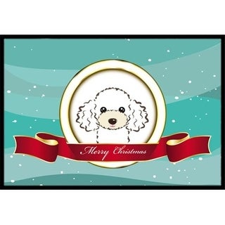 Carolines Treasures BB1567MAT White Poodle Merry Christmas Indoor & Outdoor Mat 18 x 27 in.
