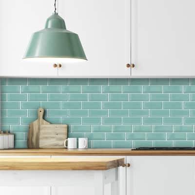 Walplus Capri Sea Glossy 3D Metro Peel and Stick Backsplash Tile Stickers