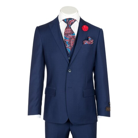 Tufo, Modern Fit, French Blue, Pure Wool Suit & Vest by Tiglio Luxe