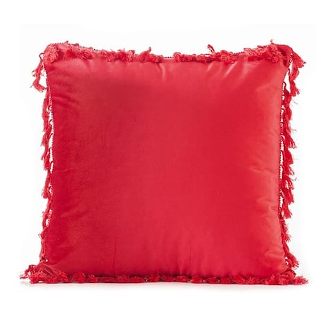 """Elegant Boho Decorative Throw Pillow Covers with Tassels for Couch Bed Sofa Soft Velvet Cushion Covers 18""""x18"""""""