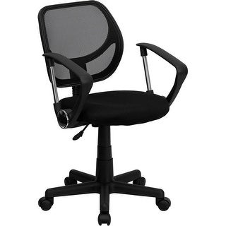 Offex Mid-Back Black Mesh Task Chair and Computer Chair with Arms [OF-WA-3074-BK-A-GG]