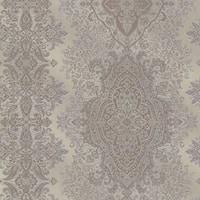 Brewster 2665-21433 Benedict Pewter Ornate Paisley Stripe Wallpaper