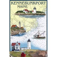 Kennebunkport, ME - Nautical Chart - LP Artwork (100% Cotton Towel Absorbent)