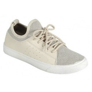 Adult Beige Tongue-ess Panel Lace-Up Closure Trendy Sneakers