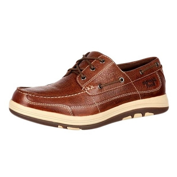 Georgia Boot Work Mens Tybee Island Boat Style Stitch Brown