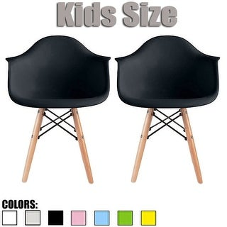 2xhome Set of 2 Black Plastic Chairs With Arms Armchair Natural Wood Child Kids Preschool Daycare Home Bedroom Activity Desk
