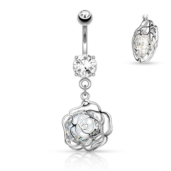 Large CZ Incased Camellia Flower Dangle Surgical Steel Belly Button Navel Ring - 14GA (Sold Ind.)