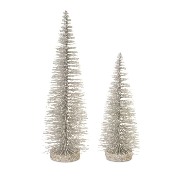 """Pack of 10 Gray Glittered Bottle Brush Artificial Christmas Trees Table Top Decorations 14"""" - silver"""