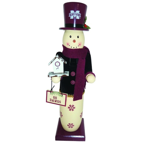 """14"""" NCAA Mississippi State Bulldogs Wooden Snowman Christmas Table Top Figure - RED"""