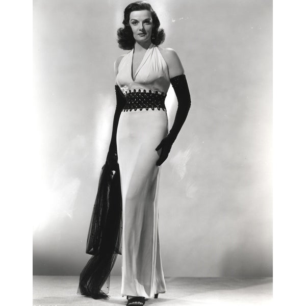 Shop Jane Russell Posed In White Deep V Neck Halter Dress And Black