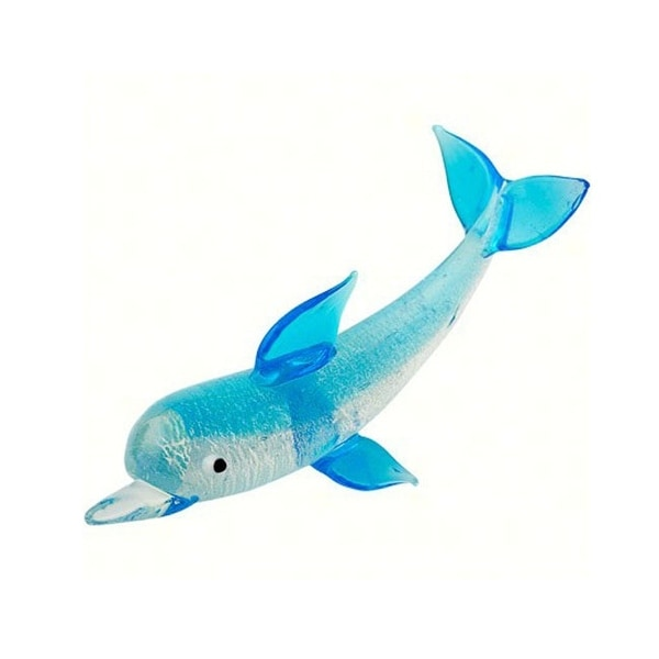 """3.5"""" Blue and White Dolphin Art Glass Animal Figurine - N/A"""