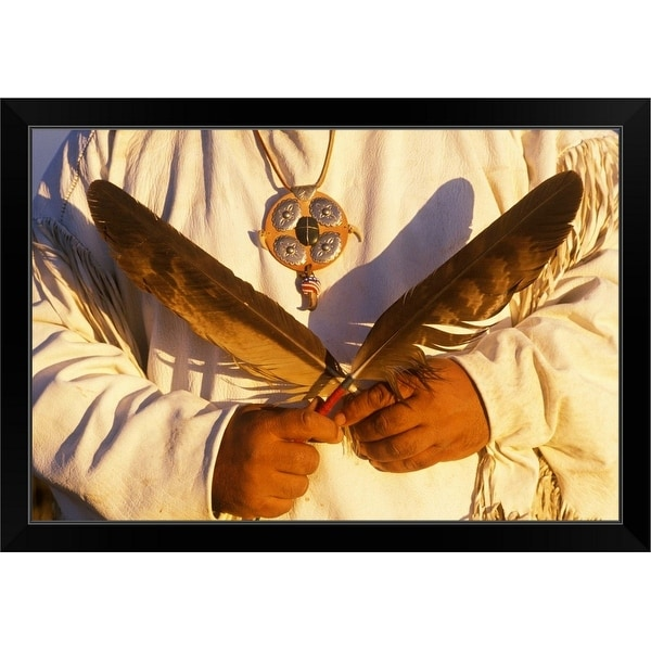 """Native American holding ceremonial feathers, Big Sur, California"" Black Framed Print"