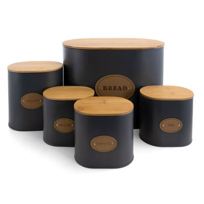 MegaChef Kitchen Food Storage 5Pc Canister Set Grey with Bamboo Lids