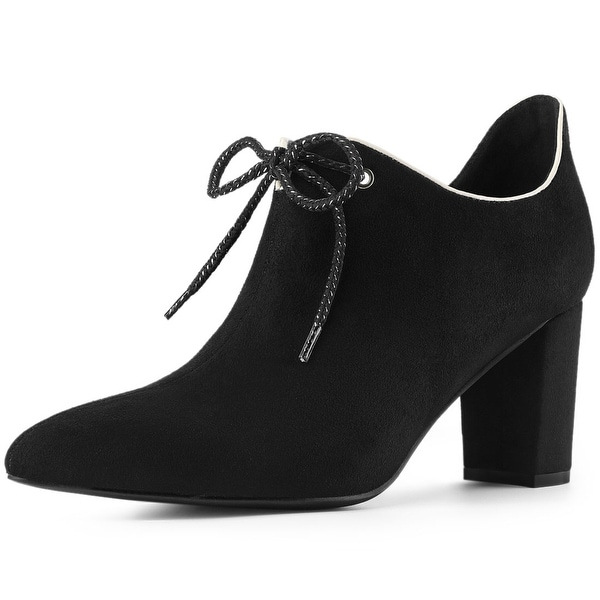 Women's Pointed Toe Chunky Heel Lace Up Ankle Booties. Opens flyout.