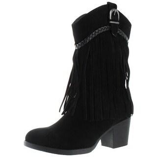 Moda Essentials Women's Fringe Cowboy Western Booties Boots Boho Cowgirl