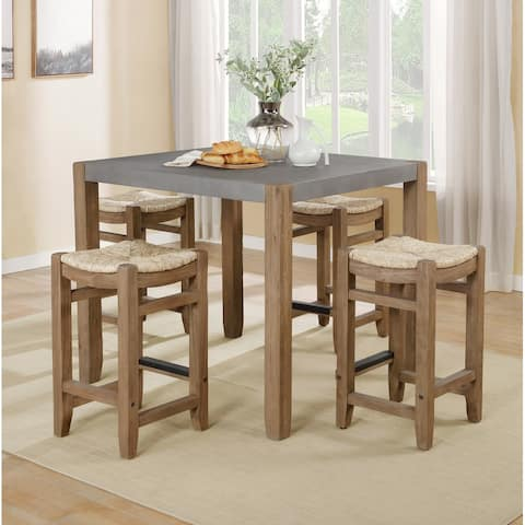 The Gray Barn Enchanted Acre Faux Concrete and Wood Counter Height Dining Table - Brown