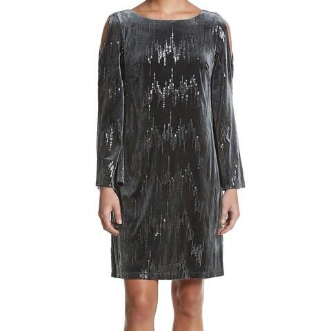 Jessica Howard Gray Women Size 14 Velvet Cold-Shoulder Sheath Dress