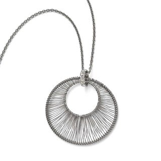 Chisel Stainless Steel Polished Wire Circle with 2in ext. Necklace - 16.5 in