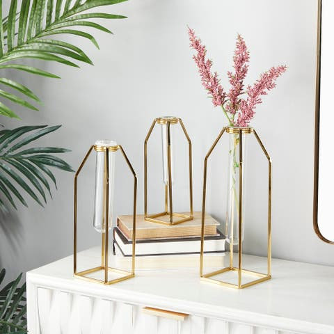 CosmoLiving by Cosmopolitan Gold Stainless Steel Glam Vase (Set of 3) - 5 x 5 x 13 Round