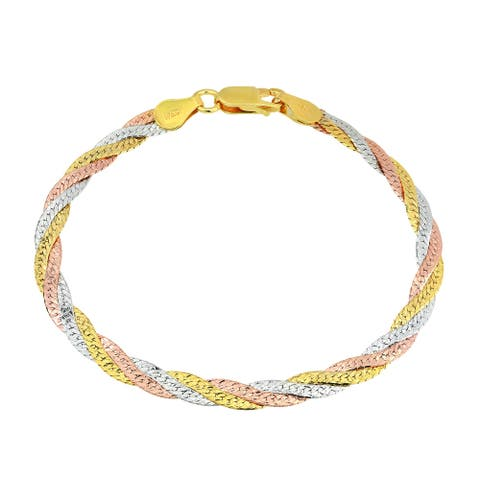 Handmade Elegant Trio Colorful Finishes Sterling Silver Braided Rope Chain Bracelet (Thailand)