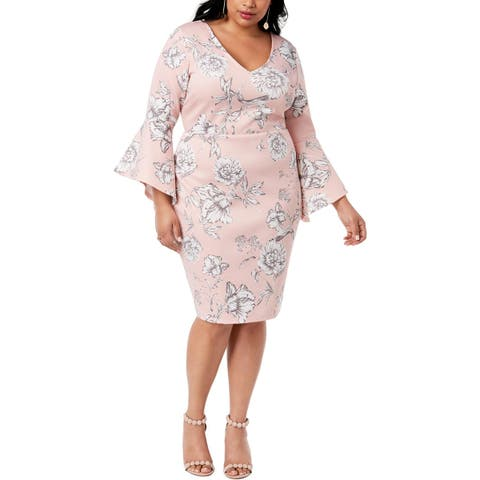 Love Squared Womens Plus Sheath Dress Floral Bell Sleeve - 2X