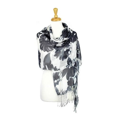 Women's Fashion Floral Soft Wraps Scarves - F2 Purple - Large