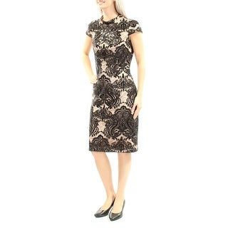 VINCE CAMUTO $248 Womens New 1280 Black Lace Sequined Sheath Dress 4 B+B
