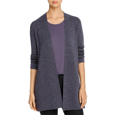 Eileen Fisher Womens Cardigan Sweater Wool Blend Sparkle - Blue Shale
