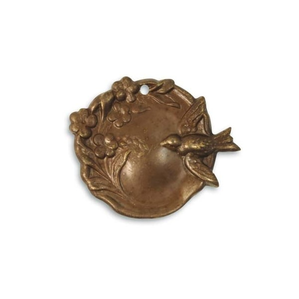 Vintaj Natural Brass Bird Garden Cameo Pendant 27x23mm (1)