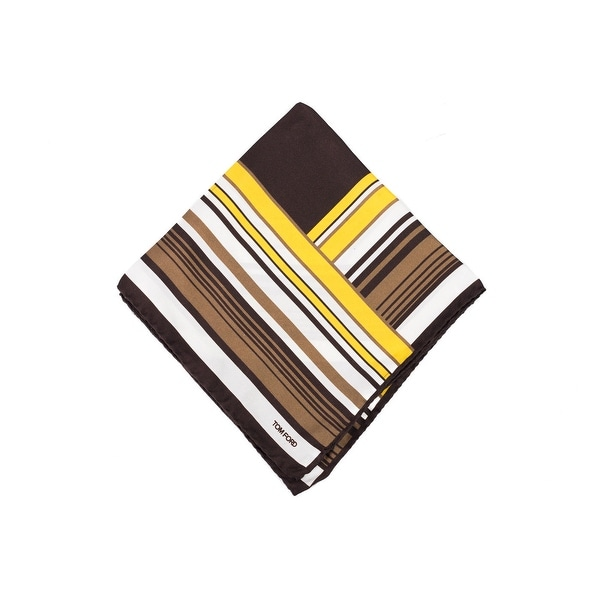 Tom Ford Brown Yellow Abstract Striped Pocket Square