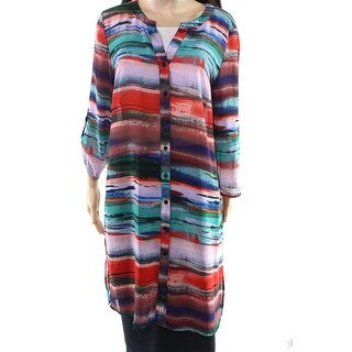 Cupio Women's Large Contrast Striped Button Down Shirt