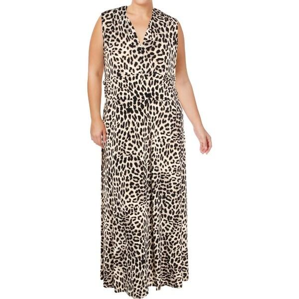 Vince Camuto Womens Plus Maxi Dress Halter Leopard