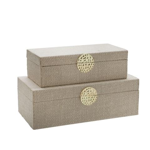 "S/2 Wood 7/10"" Box W/ Medallion, White/Gold"