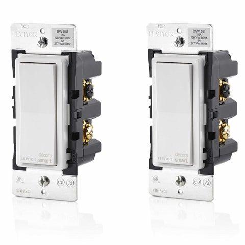 Leviton DW15S-1BZ Decora Smart Wi-Fi Universal LED/Incandescent Light Switch 2PK - White