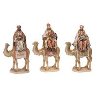 Set of 3 Gray and Ivory Wisemen Sitting on Camels Tabletop Christmas Decorations 18""