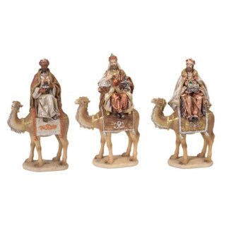 """Set of 3 Gray and Ivory Wisemen Sitting on Camels Tabletop Christmas Decorations 18"""""""