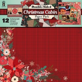 "Hot Off The Press Double-Sided Paper Pack 12""X12"" 12/Pkg-Christmas Cabin"