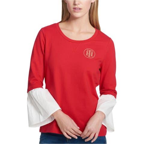 Tommy Hilfiger Womens Bell Sleeve Sweatshirt
