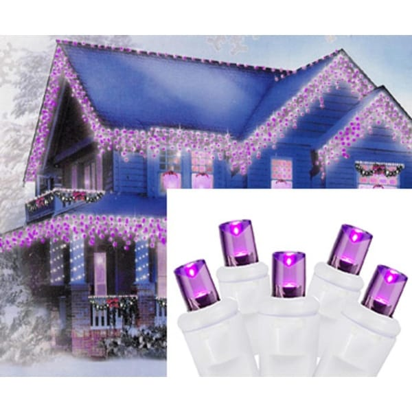 Set of 70 Purple LED Wide Angle Icicle Christmas Lights - White Wire
