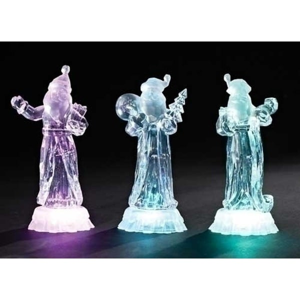 "7.5"" Icy Crystal Battery Operated LED Lighted Santa Claus with List Christmas Table Top Figure"
